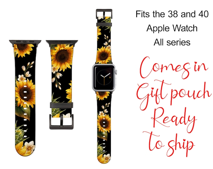 Sunflowers Apple Watch Band, ready to ship, including gift pouch, sun flower watch strap, faux leather, 38/40 mm only, fits all series