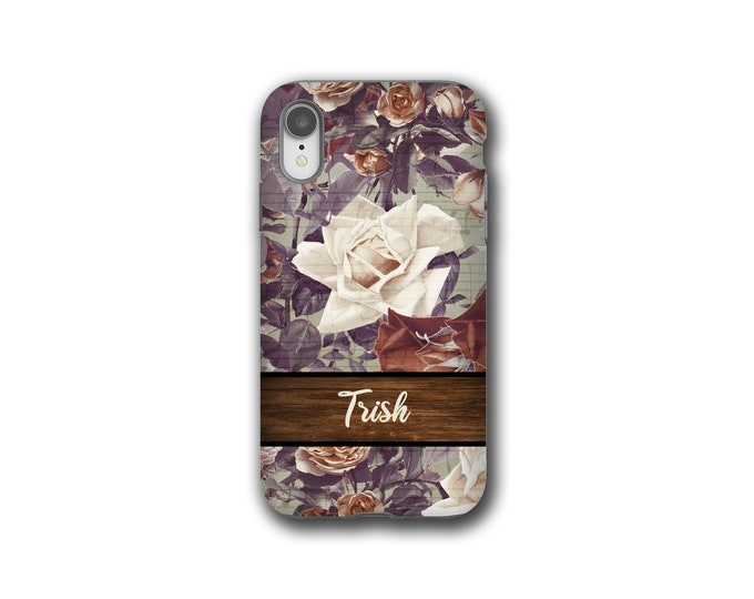 Shabby Chic roses custom iPhone XR case, Samsung Galaxy S10, iPhone xs max, iPhone 8 plus, Galaxy Note 9,  iPhone 12, Galaxy S8, iPhone 7