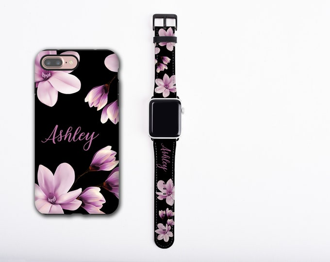 Magnolia Flower iPhone case & Apple Watch Band Set, custom name phone case watch band, faux leather, personalized, all series 38/40/42/44mm