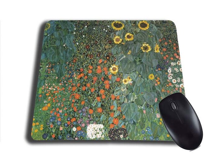 Gustav Klimt Sunflower Cottage Garden mouse pad mousepad mouse mat Flower Garden painting artsy austrian painter