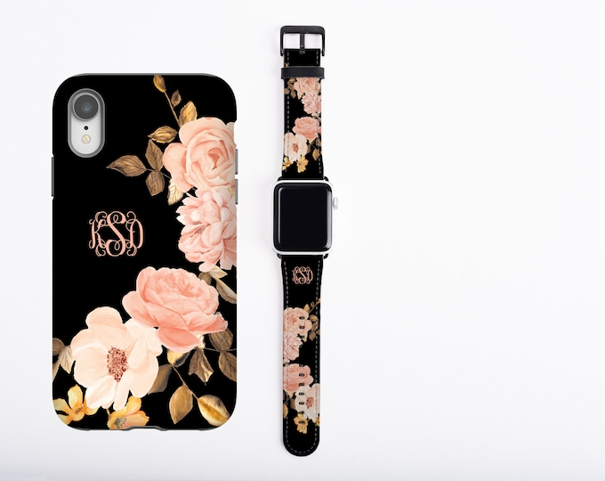 Roses iPhone case & Apple Watch Band Set, monogrammed phone case and watch band, golden peach custom iPhone case, faux leather, personalized