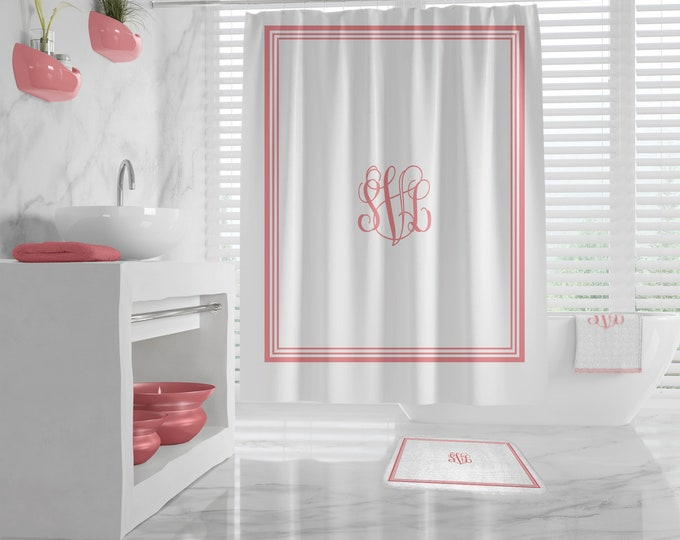 Custom Monogram Shower Curtain, Custom Monogram Bath Mat, monogrammed towel, classy design Bath Decor, Bathroom, Dorm, Girl, custom Initials