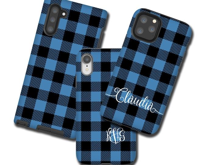 Blue Black Buffalo Plaid iPhone 12 Pro Max Case monogrammed Tartan Samsung Galaxy S10 Plus iPhone 11 iPhone XR Galaxy Note 10 iPhone 8 Plus