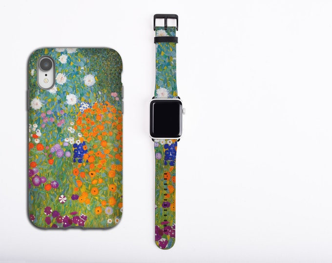 Gustav Klimt Cottage Garden Apple Watch band and iPhone case set, apple watch strap, iPhone XS case, iPhone 8, iPhone 12, faux vegan leather