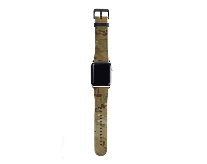 Camo Apple Watch Band for men and women, 38mm 40mm 42mm 44,mm, camouflage pattern faux leather Apple watch strap, military camo print band