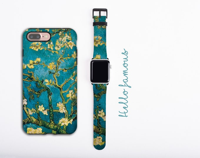 Almond Blossoms Van Gogh iPhone 12 case & Apple Watch Band, iPhone 11 Pro Max case set, iPhone XR iPhone 8 plus faux leather, 38 40 42 44mm