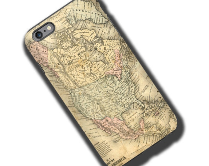 Vintage Antique Map North America iPhone 12 Pro case for men iPhone 11 iPhone 8 iPhone XR Samsung Note 20 Galaxy S21 Ultra iPhone 12 mini
