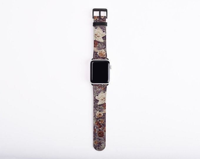 Apple Watch Band, Shabby Chic Roses, 38mm, 42mm, 40 mm, 44 mm, artificial leather, fits all series, whimsical Apple watch strap for women