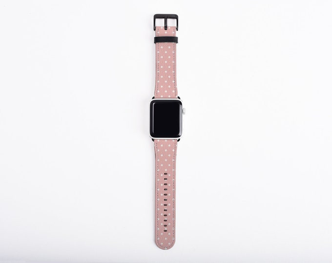 Polka Dots Apple Watch Band 42mm women, blush pink iwatch band, artificial leather, 38mm, 42mm, fits all series 5 4 3 2 1, Apple watch strap
