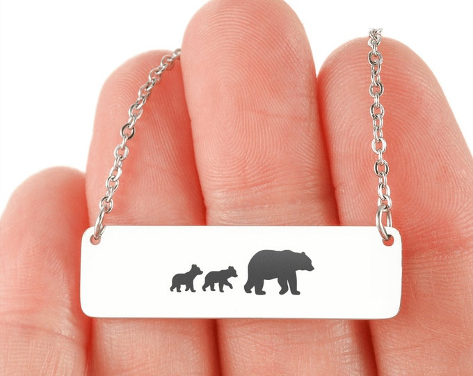 Perfect Mother's Day Gift Mama Bear and Cubs Necklace silver or gold optional custom engraving on the back cute gift for mom from daughter