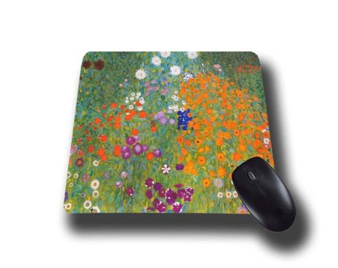 Gustav Klimt Cottage Garden Art mouse pad mousepad mouse mat Flower Garden artsy austrian painter floral office desk accessory