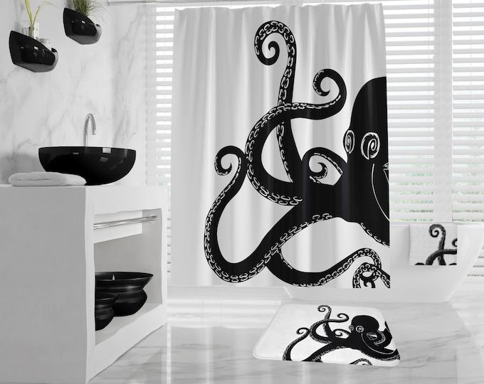 Octopus Shower Curtain, Giant Kraken Bathroom Set, Nautical Hand Towel, Bath Towel, Octopus Bath Mat, large shower curtain, different colors