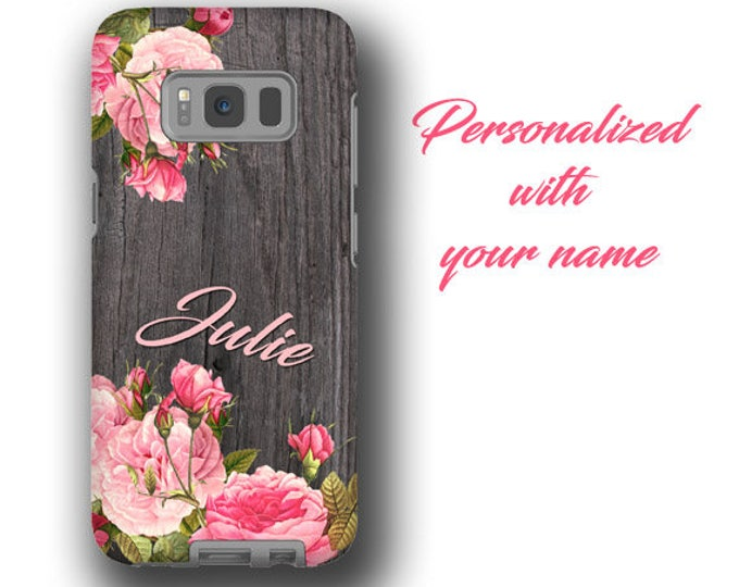 Personalized Galaxy Note 10Plus iPhone 11 phone case vintage flower bouquet name iPhone 12 iPhone XR Galaxy S21 Galaxy S8 Samsung Galaxy S20