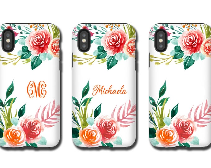 Watercolor Floral iPhone XR case, custom iPhone XS MAX, monogram name, iPhone 8, iPhone 11 Pro, Galaxy S10, Galaxy Note 9, Galaxy Note 10Pro