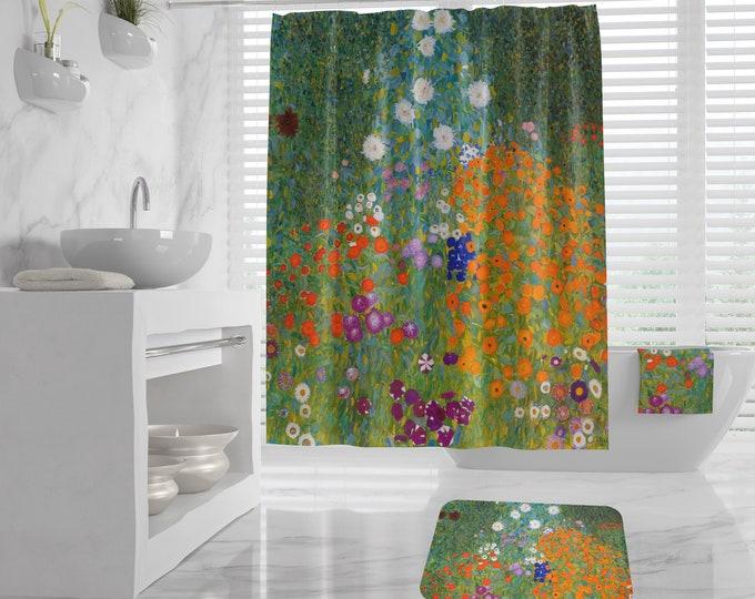 Gustav Klimt Cottage Garden Bathroom decor, Shower Curtain, Bath/Beach Towel, Bath Mat, Art Bathroom Decor, art hand towel housewarming gift