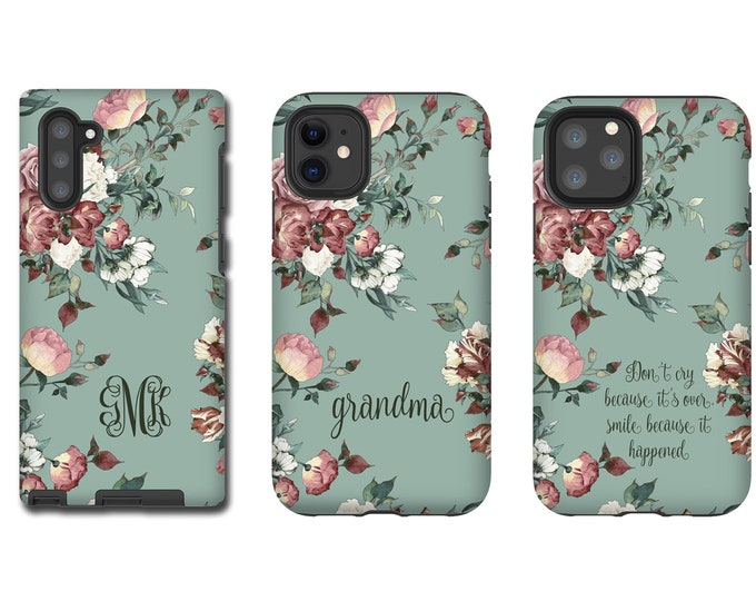 Vintage shabby chic roses monogram iPhone 12 Case iPhone 11 Pro Max iPhone XR iPhone xs max iPhone 8 Plus Galaxy S10 Galaxy Note 10 iPhone 7