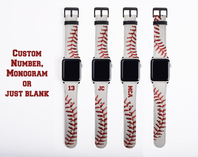 Baseball white Apple Watch Band, custom number watch strap, faux leather, 38 mm, 40mm, 42 mm, 44mm personalized baseball gift, baseball mom