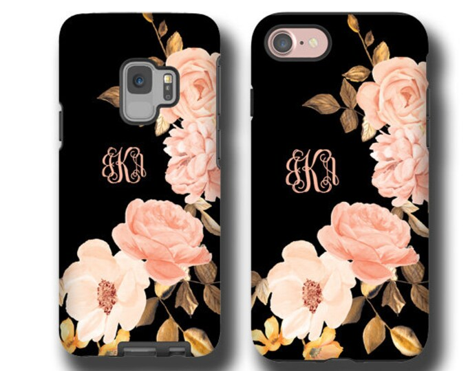 Monogram iPhone 12 Pro max case golden peach roses iPhone xr Samsung Galaxy S10 iPhone 8 Plus iPhone 11 Galaxy Note 9 Galaxy Note 10 Plus