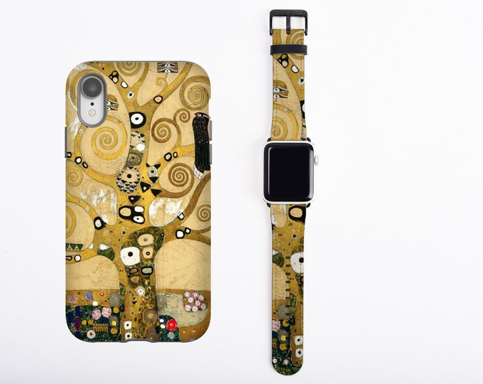 Gustav Klimt iPhone case 12 Pro Max & Apple Watch Band all series Tree of Life watch band phone case set iPhone 11 iPhone 8 Plus iPhone XR
