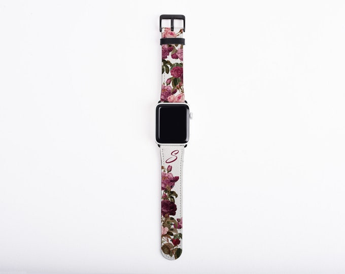 Roses and Butterfly Apple Watch Band with initial, floral custom Apple Watch Strap, 38 or 42 mm faux leather, personalized Apple iwatch