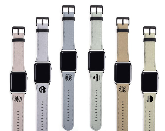 Apple Watch Band Faux Leather, solid colors monogrammed watch strap, faux leather, 38mm, 44mm, custom iWatch, personalized Apple watch strap