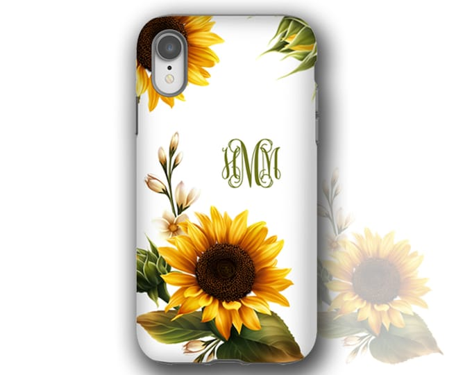 Sunflowers monogram iPhone 12 mini case custom Sun Flower iPhone XS MAX iPhone 11 Case iPhone 8 Plus Galaxy S10 Plus Samsung Galaxy S20Ultra