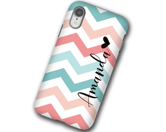 Chevron teal coral iphone 11 case, personalized name iPhone 8, Samsung Galaxy S20, iPhone xs, iPhone 7 Plus, iPhone 12, Samsung Galaxy S9,