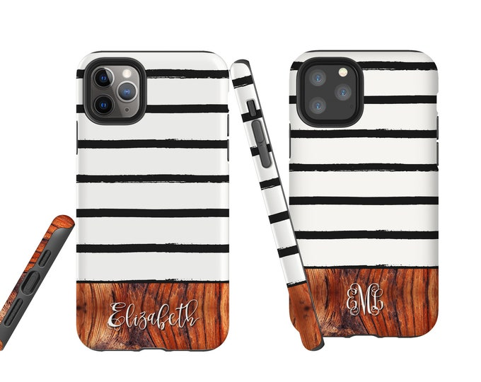 Wood Messy Stripes iPhone 12 case, custom phone case, Samsung Galaxy Note 10, iPhone XR, personalized iPhone 7, Galaxy Note 9, iPhone 8 Plus