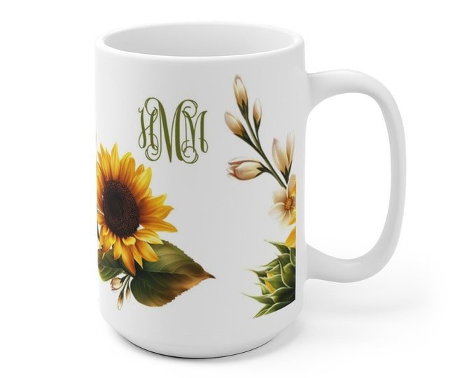 Sunflowers Coffee Mug monogram, Personalized Sunflower Mug, custom coffee cup with monogram, ceramic mug, 2 different sizes, sunflower gift