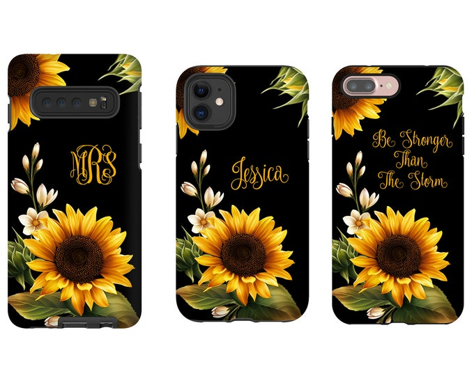 Sunflowers monogrammed iPhone 12 Case, Sun Flower iPhone XR case, iPhone 11 Pro Max Case, iPhone 8 Plus Case, Galaxy S10 case, Galaxy Note 9