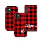 Red Buffalo Plaid iPhone 11 Pro Case, monogram Tartan Samsung Galaxy Note 10 Plus, iPhone XR, Galaxy S10, iPhone 8 Plus, Galaxy S9 black red