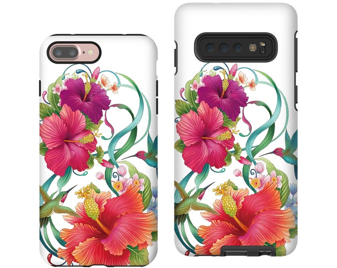 Hibiscus iPhone XR Case, Hummingbird iPhone 11 pro, Floral painting iPhone 8 plus, Galaxy Note 9, Samsung Galaxy S10E, iPhone 7, galaxy S9