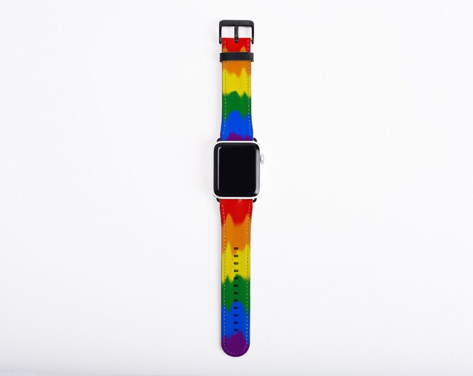 LGBT Pride Apple Watch Band 38mm 40mm 42mm 44,mm, rainbow colors faux leather Apple watch strap, fits series 1 2 3 and 4, Apple iWatch strap