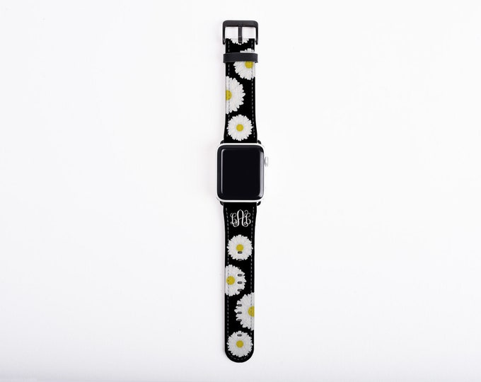 Watch Band for Apple Watch, Daisy Monogram Apple watch band, faux leather, 38 mm, 42mm, all series custom iWatch, personalized Apple watch