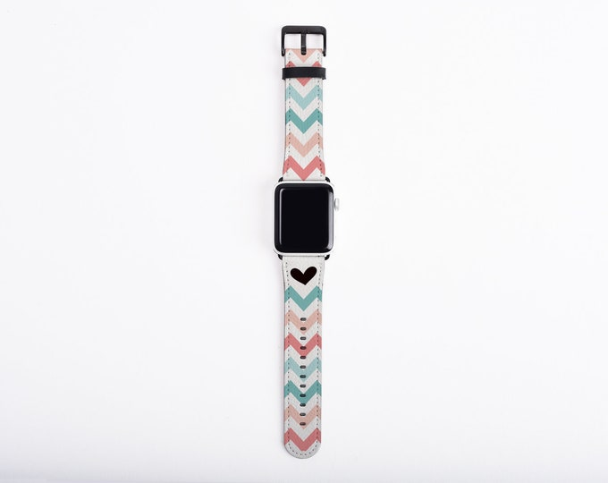 38mm Apple Watch Band Chevron for women, heart, teal, coral, artificial leather, 40 mm, 44 mm, Apple watch strap for her, fits all series