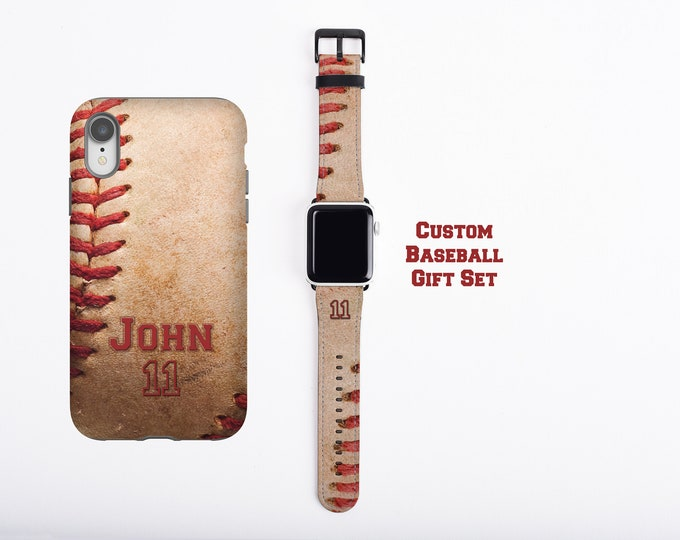 Baseball custom name and number iPhone 12 case & Apple Watch Band, gift for baseball moms, baseball dad gift, faux leather, 38mm 42mm band