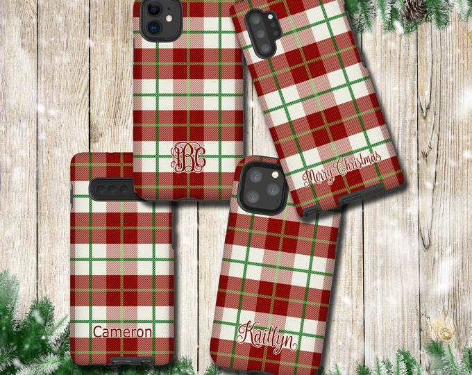 Classy Plaid iPhone 11 Pro Max Case, Holiday Season Tartan Samsung Galaxy Note 10 Plus, iPhone XR, Galaxy S10, iPhone 12 Pro Max, iPhone XS