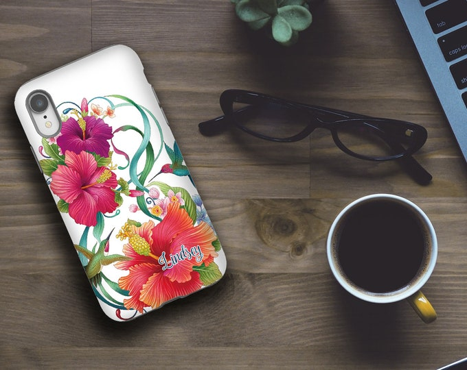 iPhone 12 Case name, Hibiscus iPhone 8 Case, Hummingbirds iPhone xs max Case, Galaxy Note 9 Case, Galaxy S10 E Case, Personalized, iPhone SE