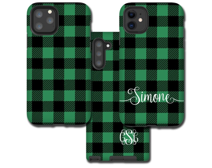 Buffalo Plaid Galaxy Note 20 Plus case sea green, personalized iPhone 12 Pro Max, Tartan Samsung Galaxy S20, iPhone XR, Galaxy S10, iPhone 8