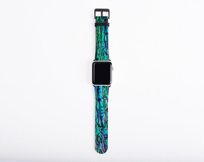 Abalone Shell Apple Watch Band 38mm women, faux leather Apple Watch Band, Apple watch strap 38mm, 40mm, 42mm, 44mm, fits all series