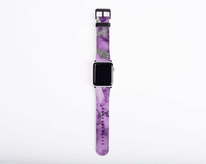 Apple Watch Band 38 mm for women, purple silver marble design, artificial leather, 38 mm, 42 mm, Apple watch strap for her, fits all series