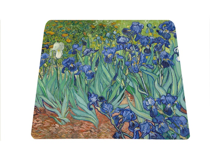 Vincent Van Gogh Irises mouse pad, floral office mousepad, art mouse mat, gift for art teacher, art lover Mothers Day gift, back to school