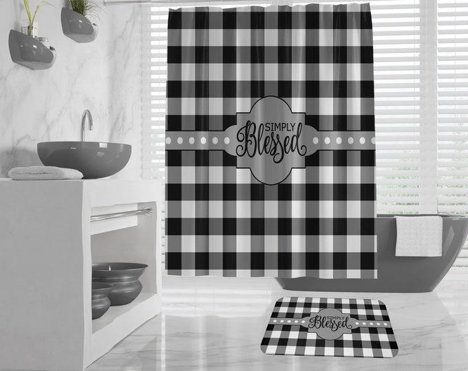 Christian Shower Curtain and Bath Mat, Buffalo Plaid black and white, Simply Blessed, Farmhouse Bathroom Design, Religious Farmhouse Bath