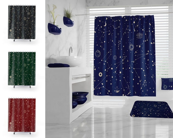 Zodiac Shower Curtain, Star Constellation Bathroom Set, Space Bathroom Decor, Galaxy Bath Mat, Celestial Map, different colors and sizes