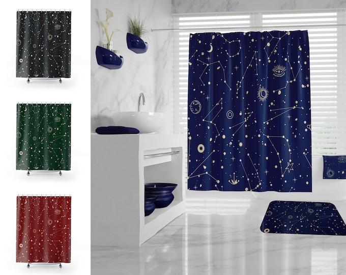 Zodiac Shower Curtain, Star Constellation Bathroom Set, Space Bathroom Decor, Galaxy Bath Mat, Celestial Map, different colors and sizes