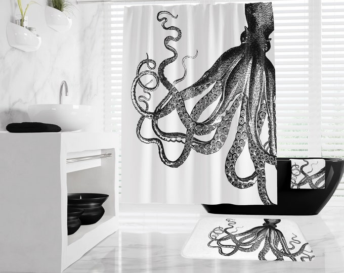 Vintage Octopus Shower Curtain, Kraken Bath Mat and Towels, Nautical Bath Decor, large shower curtain sizes and different colors available