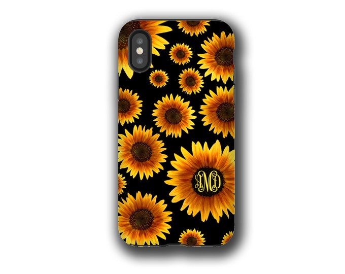 Sunflower monogram Galaxy Note 10 Plus case iPhone XR Watercolor, Galaxy Note 20 Ultra,  iPhone 8 iPhone 7 Galaxy Note 9 iPhone 6 Galaxy S20