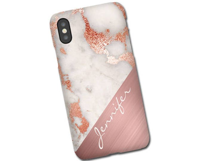Rose gold marble mix iPhone XS Case, Samsung Galaxy S20, Galaxy S21 iPhone 8 Plus, Galaxy Note 20 Case, Monogram, Personalized Galaxy S10 5G
