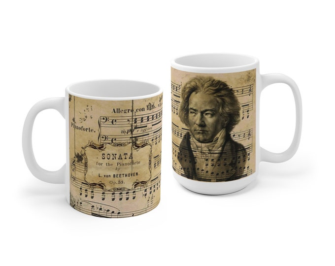 Beethoven Mug, Classical Music coffee cup, Ludwig van Beethoven, gift for musician, german composer, music teacher gift, pianist ceramic mug