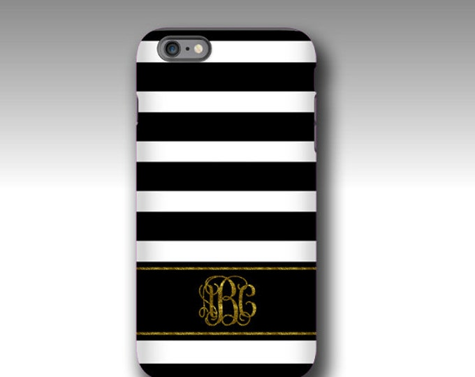 iPhone 12 Pro max case Black white stripes golden glitter monogram iPhone 8 case personalized Galaxy Note 20 case Galaxy S21 Ultra iPhone 7